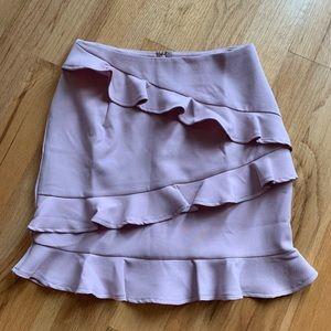 Shophopes blush pink criss cross ruffle skirt